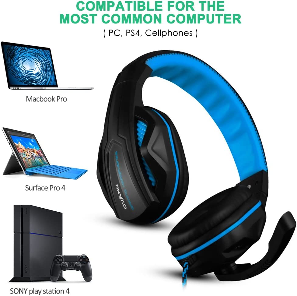 Cellphone PS4 and so on- Volume Control Black and Orange Gaming Headset,DLAND 3.5mm Wired Bass Stereo Noise Isolation Gaming Headphones with Mic for Laptop Computer