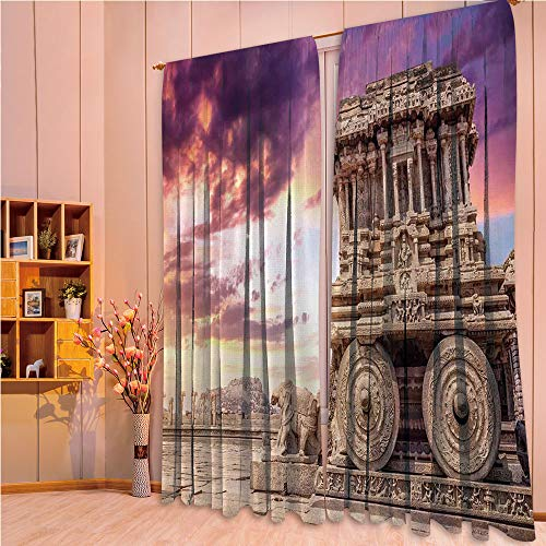 ZHICASSIESOPHIER Print Kids Curtains,Polyester Curtains Panels for Bedroom,Living Room,Carving with Ivy Patterns at Sunset Indian Mystic 108Wx84L Inch ()