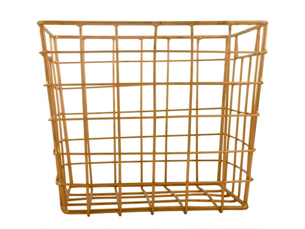 Decorative Wire Basket for Storage Pantry/Wire Baskets Square/Wire Basket Organizer/Wire Storage Baskets/Wire Mesh Baskets/Chicken Wire Basket Makeup Brush Pen Holder (Bronze Cube Collection)