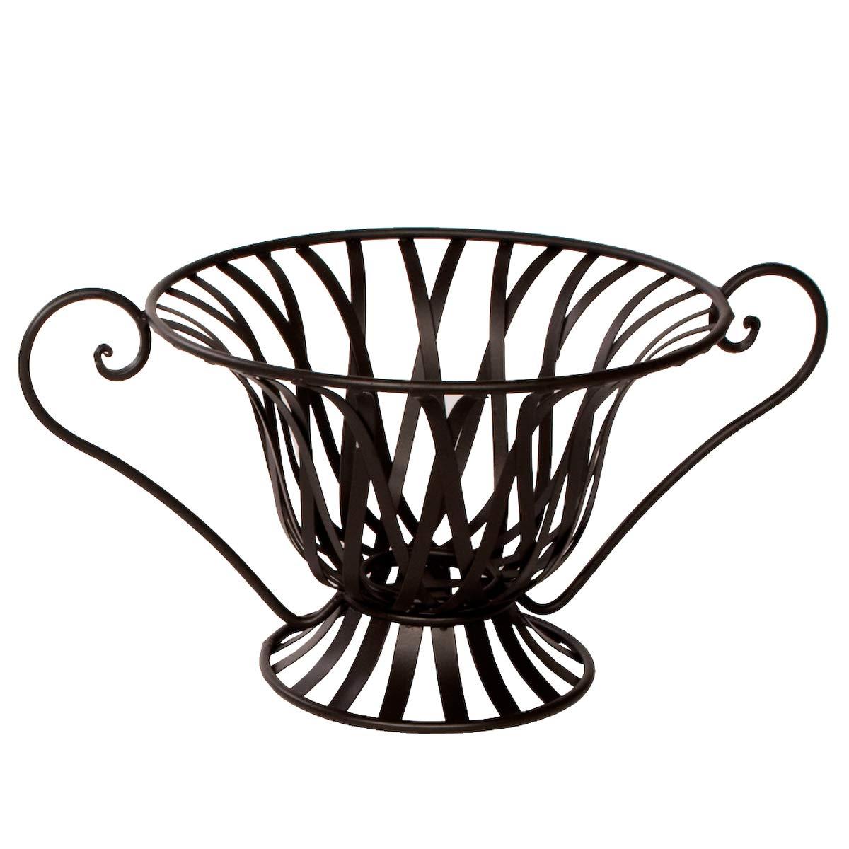 oval niedrig mit Griff ideal zur Aufbewahrung als Korb f/ür Obst und Gem/üse Varia Living Obstschale gro/ß Kreta aus Metall 3 Designs zur Auswahl schwarz Vintage Design und modern zugleich
