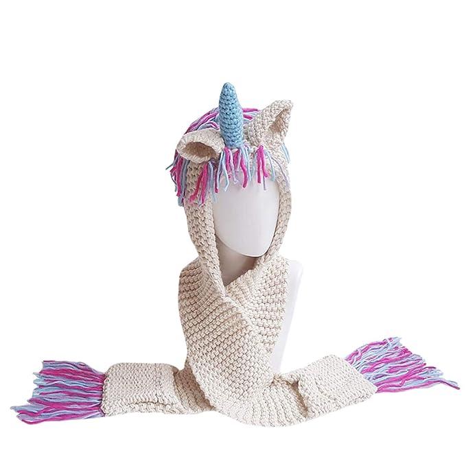 Belle Ragazzi Cartoon Unicorno Inverno Cappelli con Cappuccio Guanti Sciarpa  a Maglia Cappello Beanie Cosplay Fotografia Verde Colorful  Amazon.it  ... a9a9a4d1c71e
