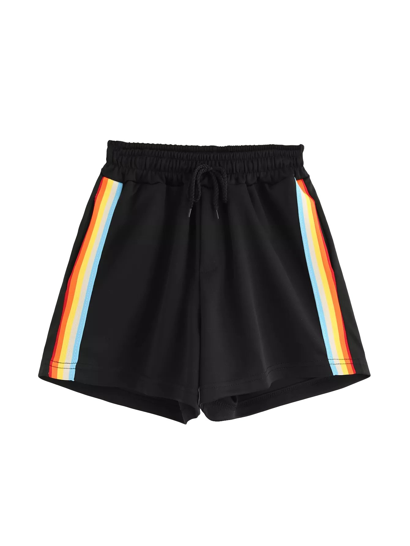 SweatyRocks Women Summer Casual Sports Workout Shorts Drawstring Elastic Waiste Hot Shorts Black #2 L