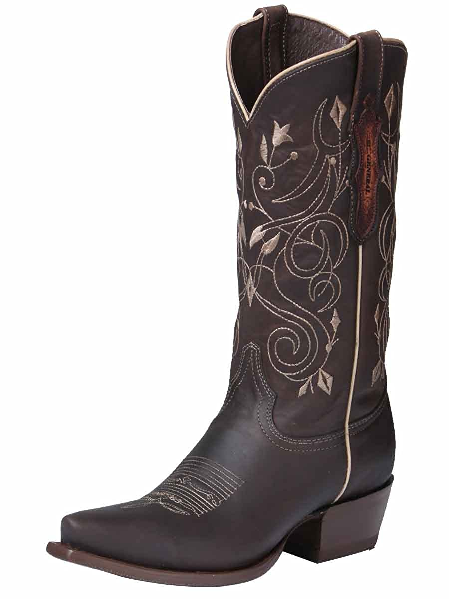 dcd27db9121 El General Women's Leather Western Square Toe Cowboy Cowgirl Boots