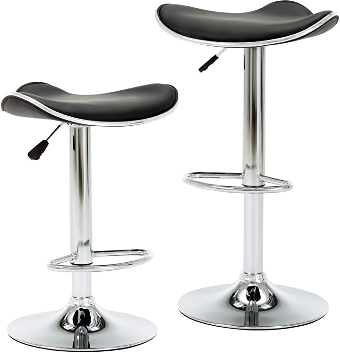 Intimate Wm Heart Modern Backless Adjustable Swivel Faux Leather Bar Stools Set Of 2 With Foot Pedal And Base For Bar Counter Kitchen And Home Black Amazon Co Uk Kitchen Home