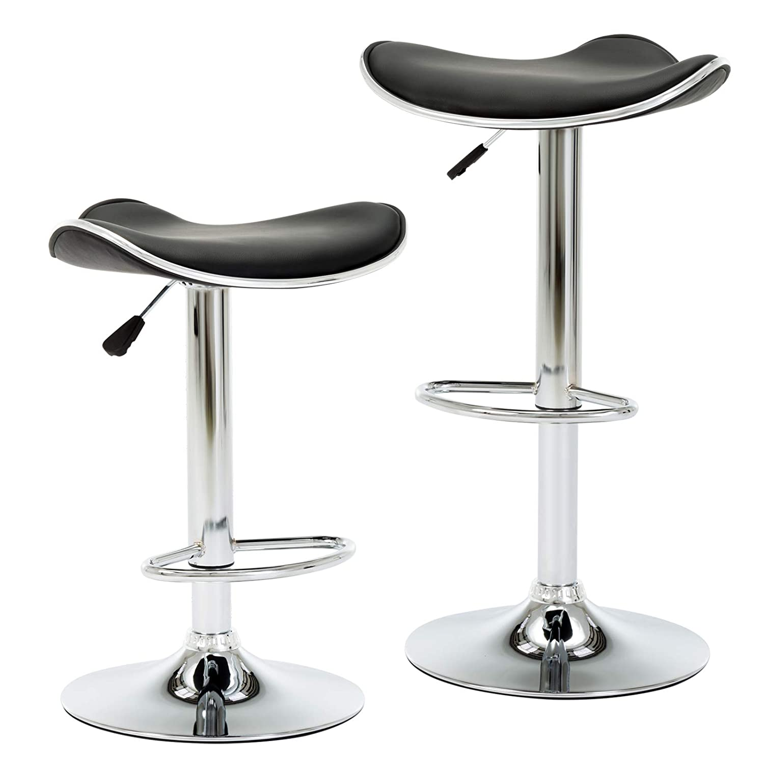 IntimaTe WM Heart Modern Style Height Adjustable Swivel Faux Leather Bar Stools, Set of 2 with Foot Pedal and Base for Bar, Counter, Kitchen and Home, Black LIANSHENG