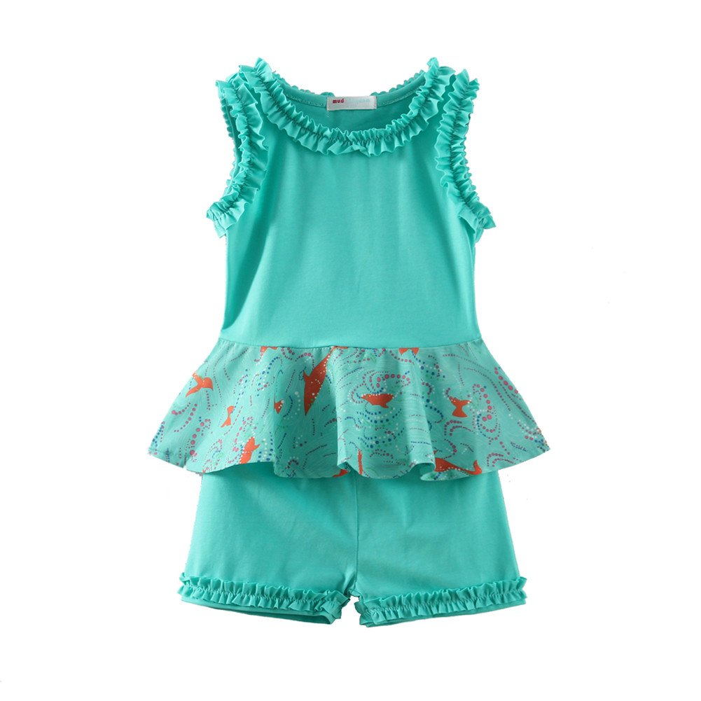 Mud Kingdom Girls Outfits Holiday Summer Shirts and Short Clothes Sets S-T0055