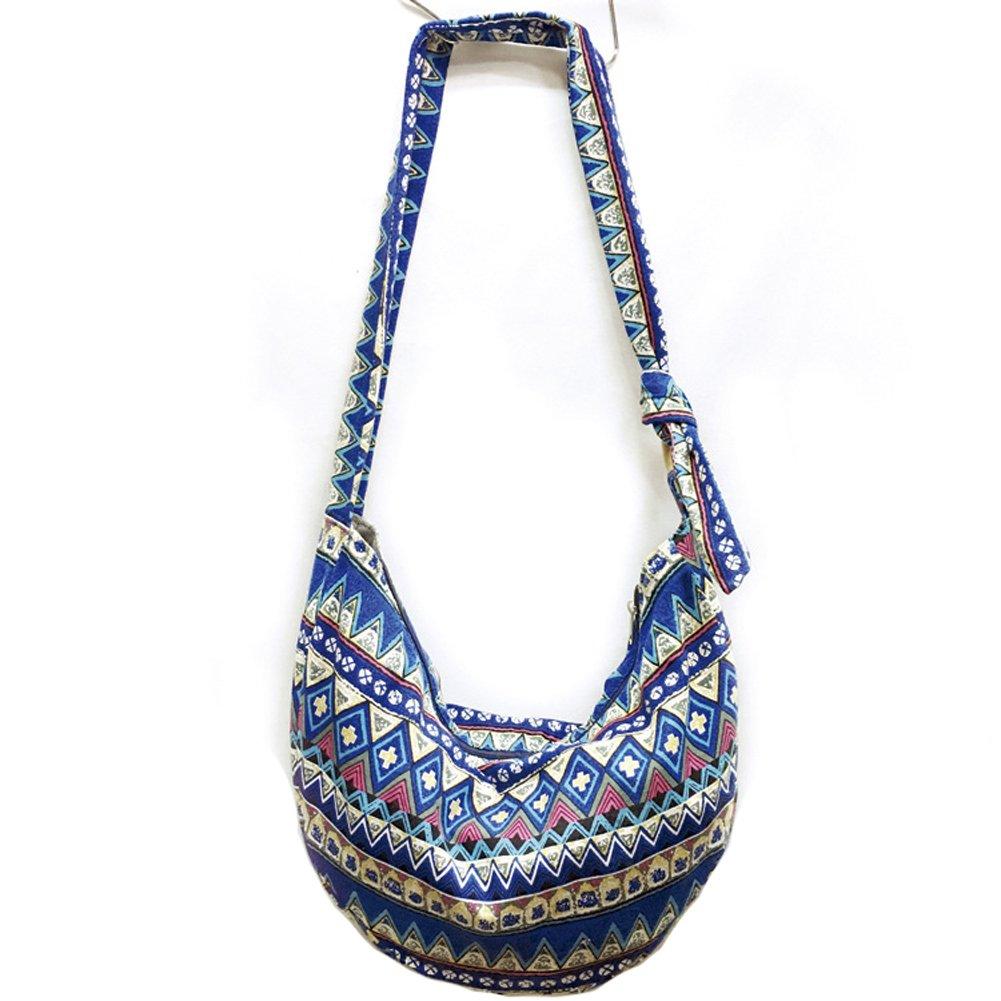 KARRESLY Large Bohemian Hippie Thai Top Zip Handmade Hobo Sling Crossbody Bag Purse Paisley Print with Adjustable Strap(6-856)