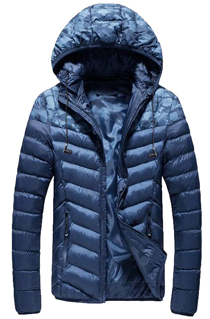 WAWAYA Mens Thicken Camo Print Hooded Stand Collar Down Quilted Coat Jacket Outwear