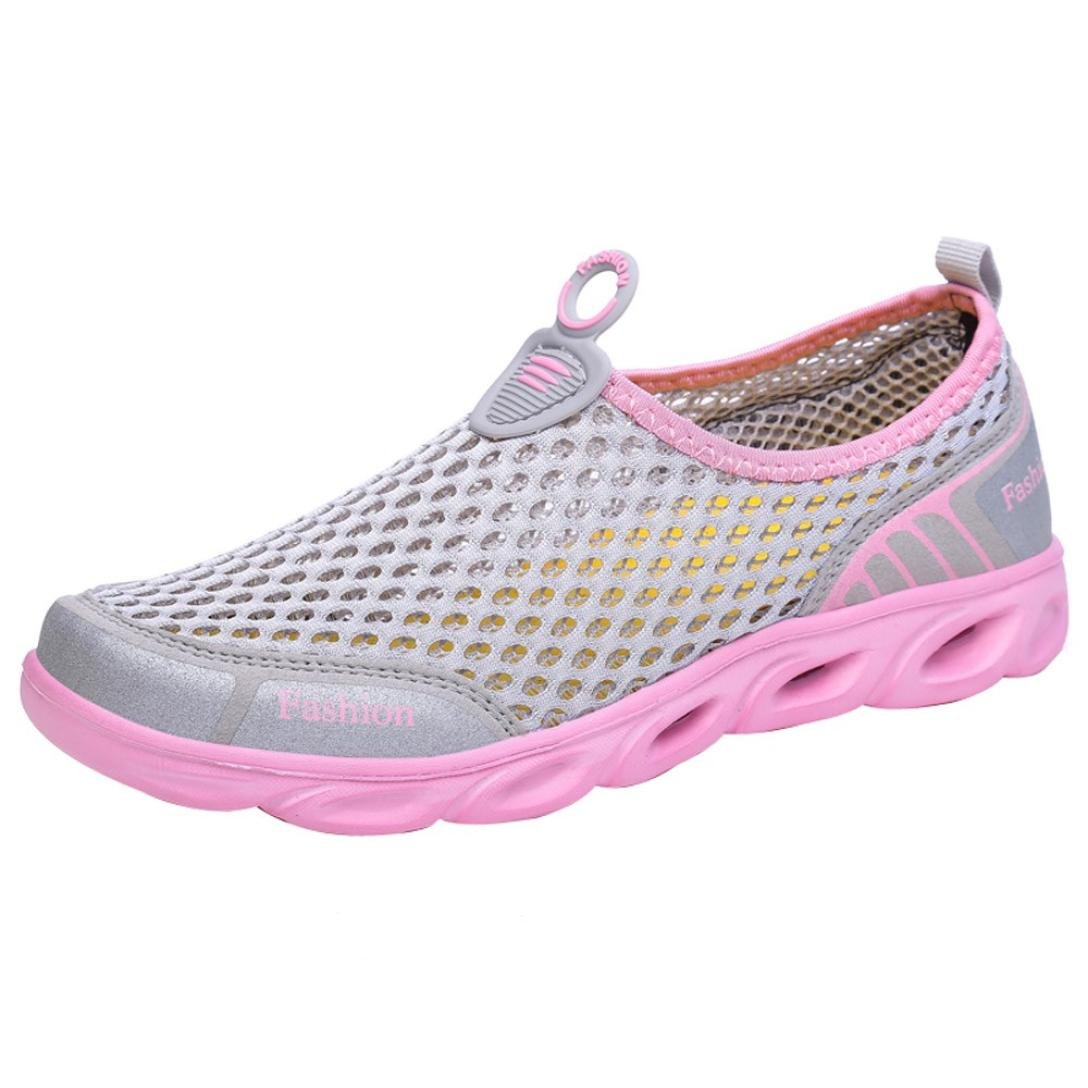 SUKEQ Women Quick Dry Water Shoes, Slip On Hollow Out Breathable Garden Shoes Walking Sandals for Beach Shower Swim (8 B(M) US, Pink)