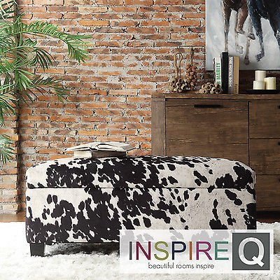 Ottoman Black Cow Hide Fabric Storage Bench. Foot rest, coffee or cocktail table great in any living room master bedroom parlor sitting rooms. (Ottoman Cow Print)