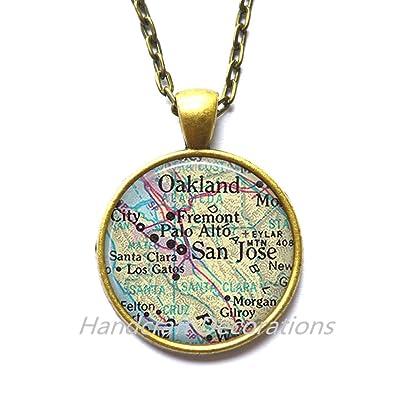 Amazon.com: Charming Necklace, San Jose map Pendant, San ...