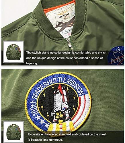 ANLW Giacca da Uomo NASA Space Badge Embroidery Logo Giacca Antivento Flight Bomber Giacca Antivento Manica Lunga Antivento,Darkgreen,XXXXL