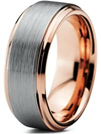 EnvyJ 8mm 18K Rose Gold Plated Tungsten Carbide Domed Brushed Mens Women Wedding Band