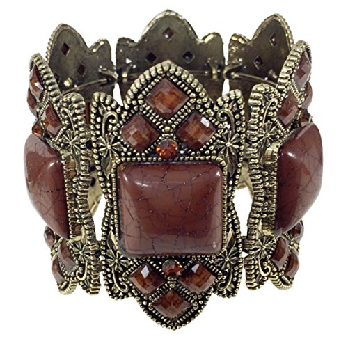 [Wide Statement Resin Stone and Rhinestone Cuff Bangle Bracelet (Brown Gold Tone)] (Little Girl Gypsy Costumes)