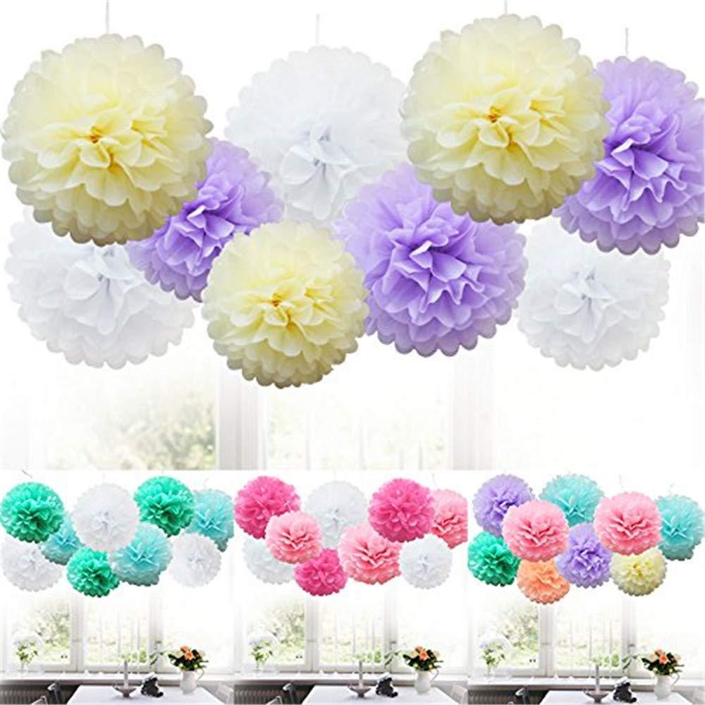 Weiliru Tissue Paper Pompoms Decorations-9PCS Flower Ball Variety Perfect Decor for Graduation Birthday Weddings Bridal,8Inch