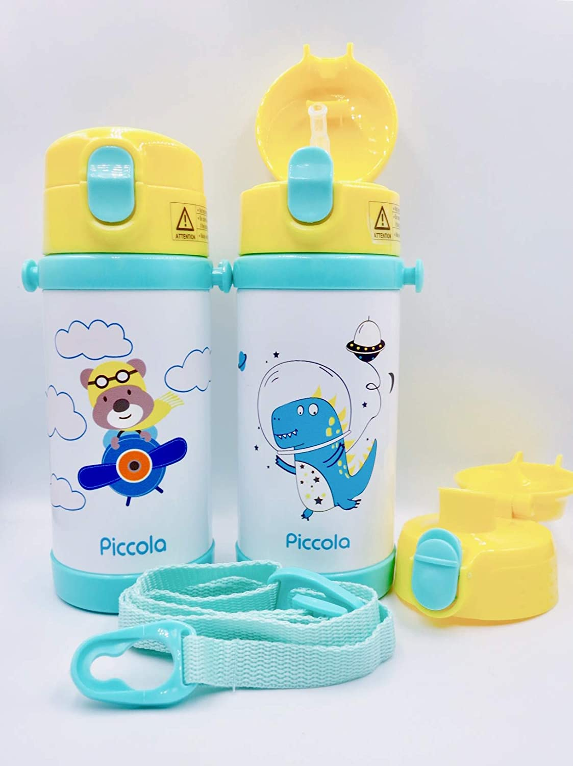 Adjustable Shoulder Strap Pink Llama BPA-Free Leak-Proof Piccola Kids Vacuum Insulated Water Bottle 12 oz or 350 ml with 2 LIDS Straw and Spout Dual Lids