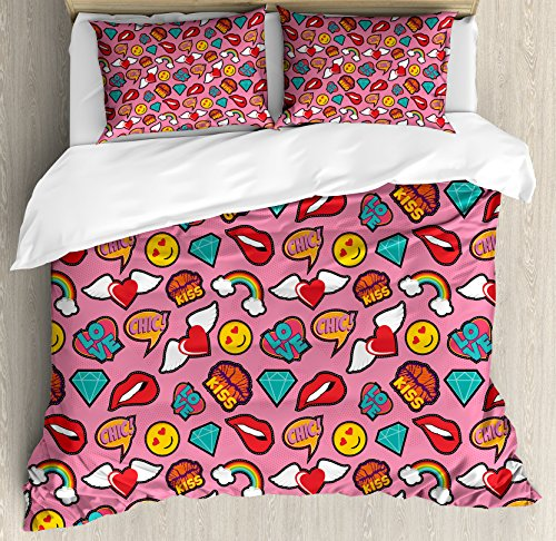 Ambesonne Emoji Duvet Cover Set Queen Size, Dotted Hearts Background with Rainbow Love Woman Lips Pop Art Style Stitch Pattern, Decorative 3 Piece Bedding Set with 2 Pillow Shams, Multicolor -