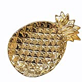 Ceramic Pineapple Jewelry Dish Plate Collect Organizer Trinket Tray for Keys Watch Wallet Fruit Saucer Dessert,Gold