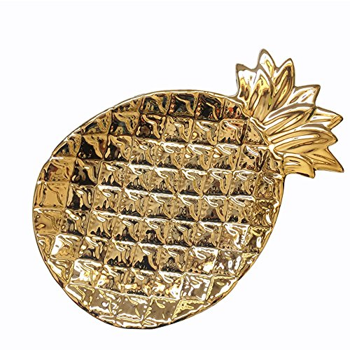 - Ceramic Pineapple Jewelry Dish Plate Collect Organizer Trinket Tray for Keys Watch Wallet Fruit Saucer Dessert,Gold