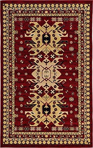 Heriz Persian Rugs Carpets - Classic Traditional Geometric Persian Design Area rugs Red 5' 1 x 8' Qashqai Heriz rug
