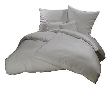 Genieße Den Schlaf Warme Biber Bettwäsche Grau Uni Einfarbig