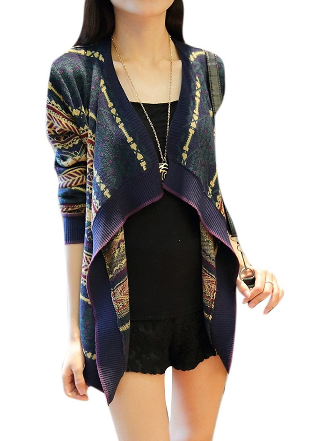 Lingswallow Women's Vintage Drape Asymmetric Open Front Knit Sweater Cardigan