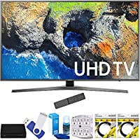 Samsung UN55MU7000FXZA 54.6 4K Ultra HD Smart LED TV (2017 Model) Plus Terk Cut-the-Cord HD Digital TV Tuner and Recorder 16GB Hook-Up Bundle