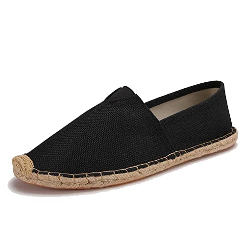 cd21f76d527 Unisex Breathable Canvas Shoes Slip-on Espadrilles Loafers Flats Shoes for Women  Men Pure Black