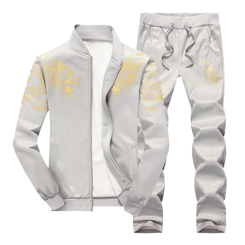 Shybuy Men's Tracksuit Winter Dragon Print Jacket Jogging Suit Sport Outfit Set