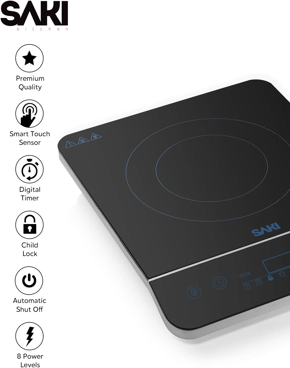 Saki Induction Cooktop 1800W Portable Induction Cooker Countertop Burner Electric Stovetop, 8-level power control, Touch Sensor, Kids Safety Lock, Timer, for stainless steel Pot Pan