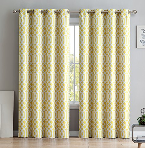 HLC.ME Trellis Printed Blackout Room Darkening Thermal Grommet Window Curtain Drape Panels for Bedroom