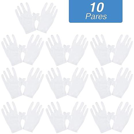 Rovtop 10 Pares Guantes de Tela de Algodón - Guantes Hidratantes Blancos de Algodón para Inspeccionar Joyas, Humectantes para Manos Secas y Trabajo ...