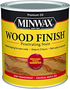 Minwax 70005444 Wood Finish Penetrating Stain, quart, Maple