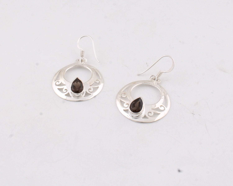 Pendientes de cuarzo ahumado de pera, pendientes colgantes, pendientes de plata esterlina 925 para regalo para mujer Sterling Silver Drop Earrings