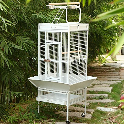 Yaheetech-Wrought-Iron-Bird-Cage-with-Large-Play-Top-Cage-Size18-x-18-x-30-inch-White