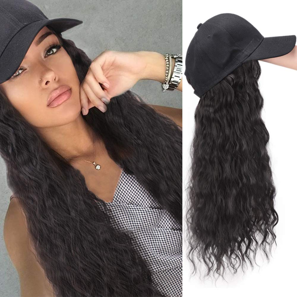 AISI BEAUTY Synthetic Long Wave Baseball Cap with Hair Brown Black Wavy Women Wig Hats with Hair Wavy Extensions (Brown Black) by AISI BEAUTY