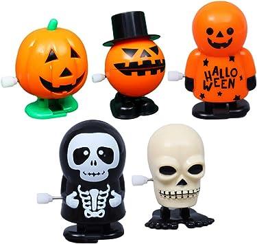 NUOBESTY Juguetes de relojería de Halloween Calavera de Fantasma de plástico Calabaza Divertida Juego de Accesorios de Regalo Bolsa de Relleno Juguetes de Salto favores - 5 Piezas: Amazon.es: Juguetes y juegos