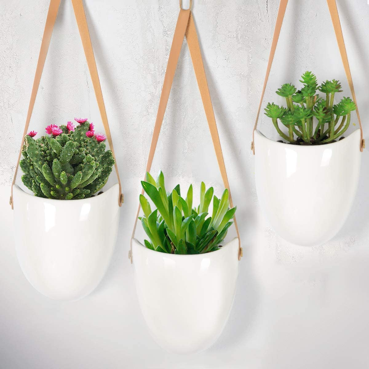 Afaris Ceramic Hanging Planter, Succulent Air Plant Flower-Pot Wall Decor Hanging Planters with Leather Strapes White Ropes No Drainage Hole, Set of 3