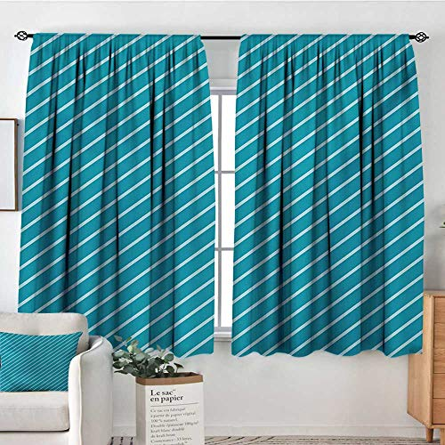 Mozenou Geometric Window Curtain Fabric Diagonal Striped Pattern Mediterranean Cruise Colors Ocean Travel Adventure Decor Curtains by 72