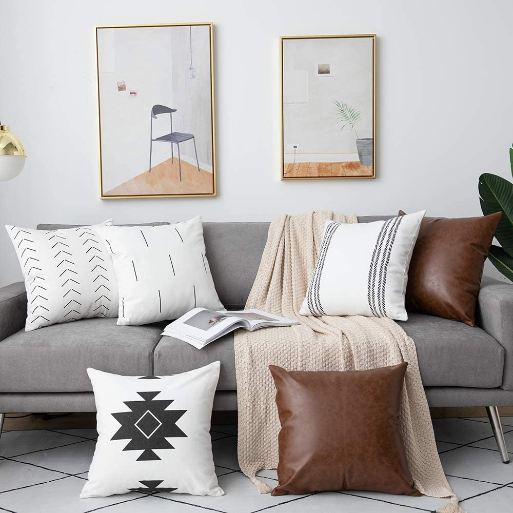 Amazon.com: DEZENE Decorative Throw Pillow Covers: Set of 6 Modern
