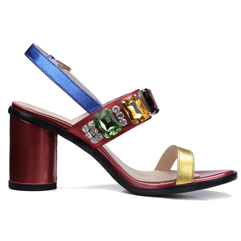 2018 Fashion Genuine Leather High Heel Sandals Calzado Mujer Gladiator Sandals Women Size 34-39,Multi,7