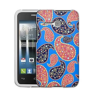 Alcatel OneTouch Evolve 2 Case, Snap On Cover by Trek Paisley Peach Blue on BLue Case