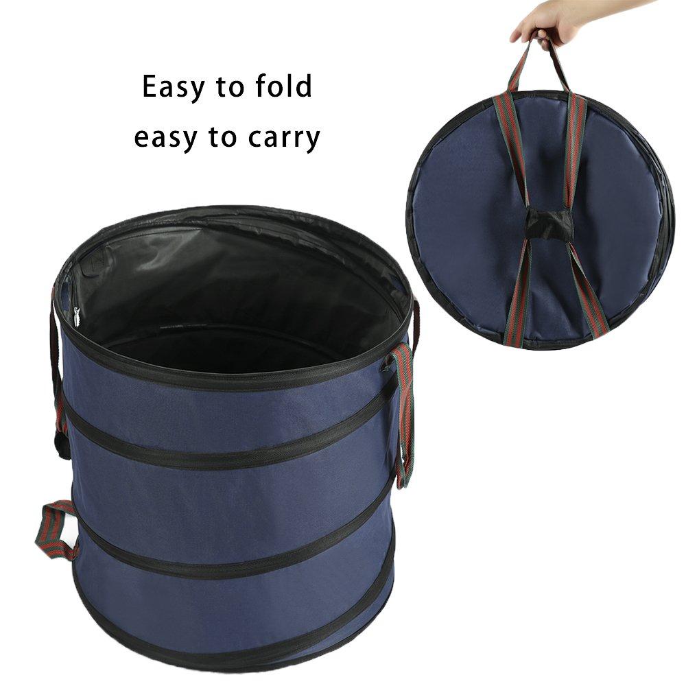 INFILM Collapsible Spring Bucket Garden Bag,Reusable Yard Waste Trash Bags Gardening Garbage Storage Gag Durable Polyester Bag for Outdoor Yard Work Capacity 23 gallons