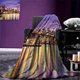 smallbeefly New York Digital Printing Blanket NYC Exquisite Skyline Manhattan Broadway Old Neighborhood Tourist Country Print Summer Quilt Comforter Purple Gold