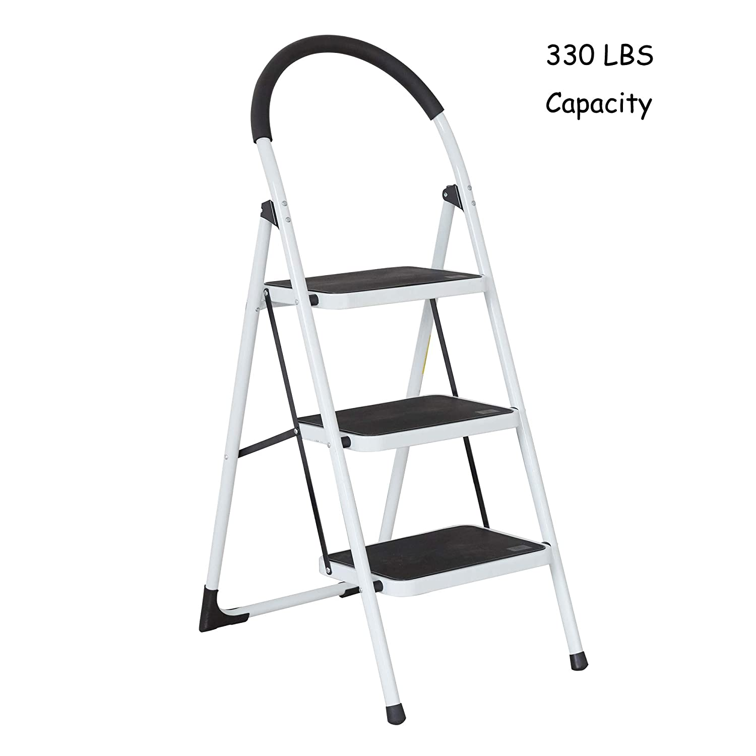 Stable Folding Step Ladder 3 Step with Grips Sturdy Step Stool with Wide Pedal 330 Lbs Capacity