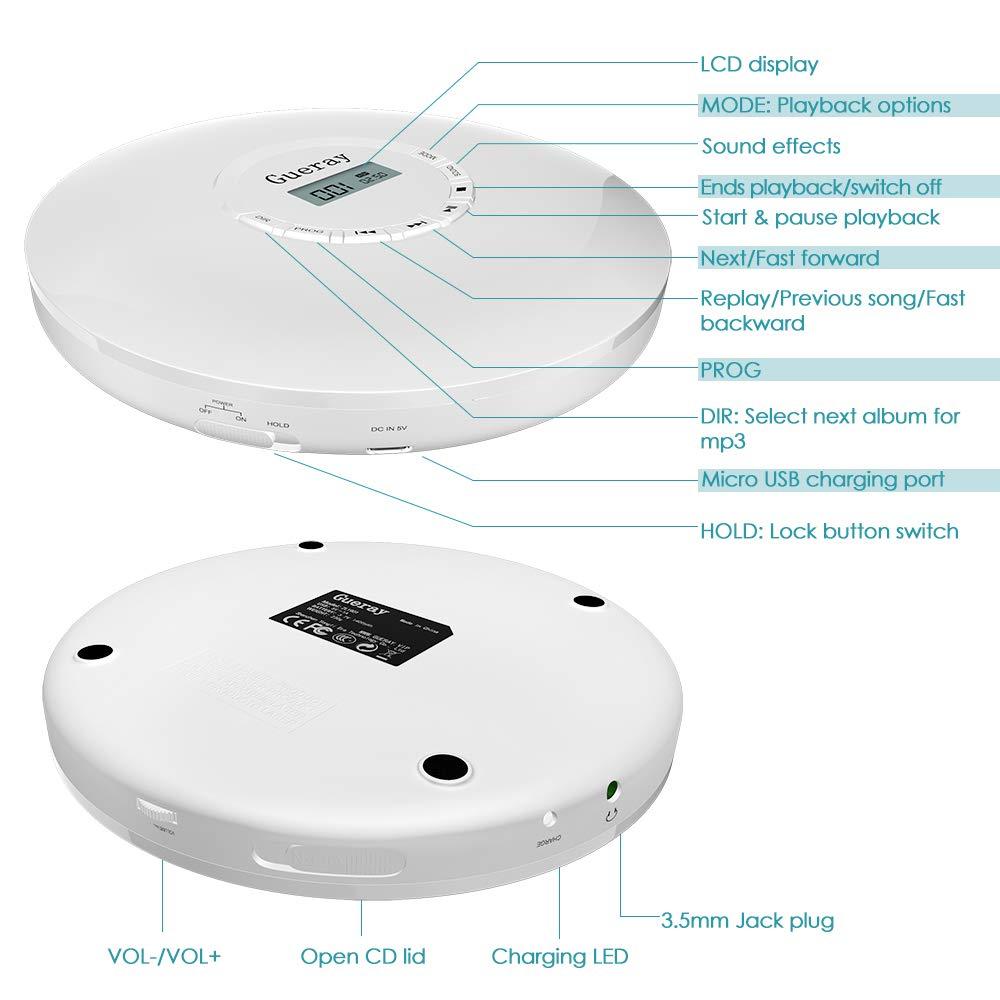 Gueray Reproductor de CD Portátil Batería de 1400MH Incorporada Reproductor de Discos Compactos con Auriculares Actualización de CD Personal Disco de ...