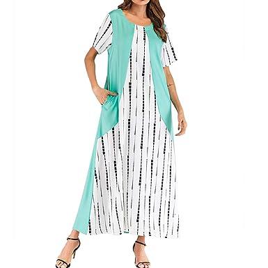 MEIbax Womens O-Neck Dress Ladies Striped Buttons Casual Sleeveless Dress Fashion Summer Dress A-line Dress Mini Dress Beach Dress Daily Dress