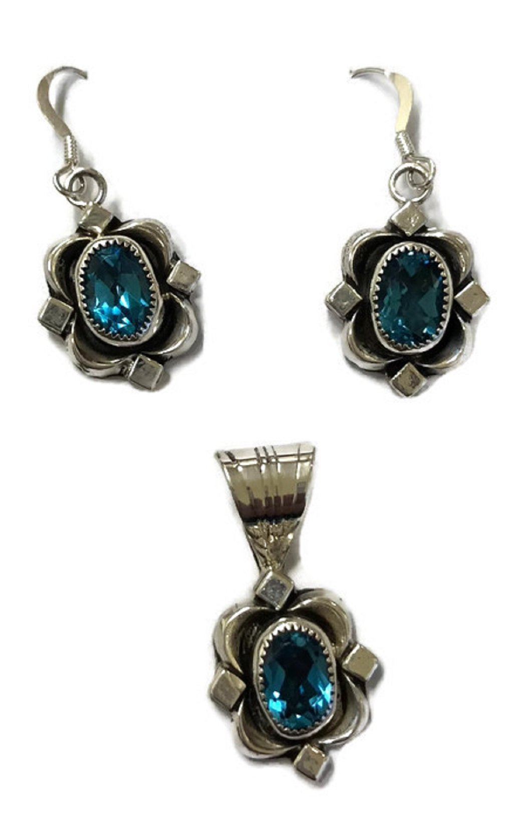 .925 Sterling Silver Native American Handmade Jewelry Blue Topaz Earring and Pendant Set