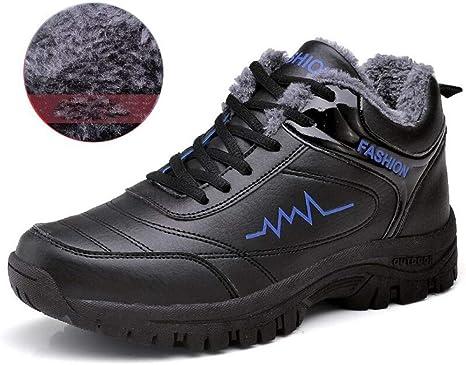 FHCGMX Zapatillas de Deporte de Cuero para Hombre de Invierno Cálido Corto de Invierno Hombres de Peluche Zapatos Casuales Zapatos de Deporte Unisex para Hombre Botas de Nieve Negras: Amazon.es: Deportes y