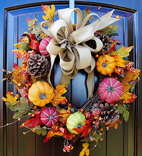 - Fall Front Door Wreath with Burlap Pumpkins, Pine Cones, Leaves, and Berries in 21-22